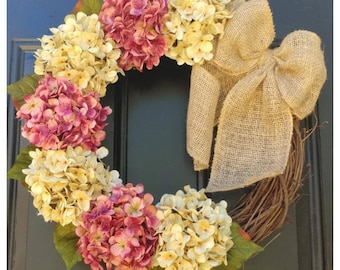 SPRING Wreath for Door, SPRING Door Decor with Cream and Cranberry Pink Hydrangeas