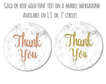 """Marble and Rose Gold Stickers - Marble and Gold Stickers - Marble Decals - Thank You Stickers - Gold and Marble Decor, 1.5"""" or 2"""" Set of 24"""