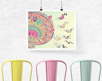 Carnival Photography, Swings. carnival ride. santa cruz beach boardwalk. colorful. pastel. nursery decor. happy art. people. pink. yellow.