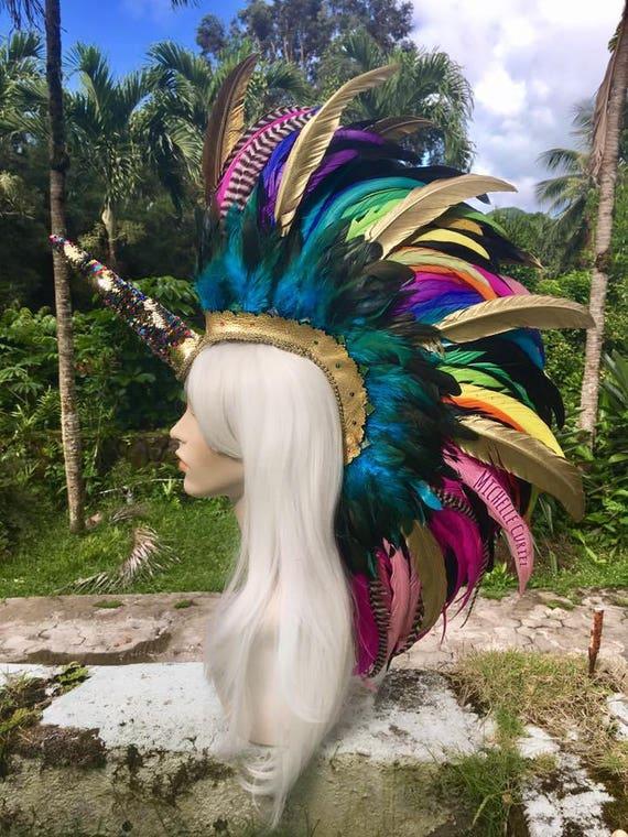 "Made to order: ""Kealohi"" Customizable Unicorn Feather Mohawk / Headdress; festivals, raves, parties, costume, mardi gras, cosplay"