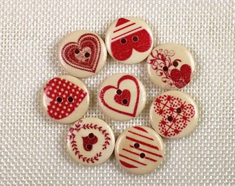 Set of 10 wooden hearts red buttons