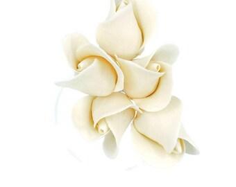 Ivory Color Rose Buds set of 5 for sugar flower arrangements, fondant gumpaste flower wedding cake toppers, cake decorations, filler flowers