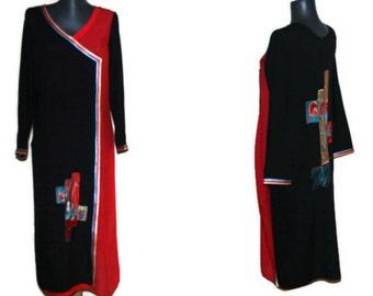 Black Red Indian kurta Embroidered BOHO maxi dress tunic Ethnic women's kaftan Embroidery caftan Tribal Dress Festival  kurta East dress