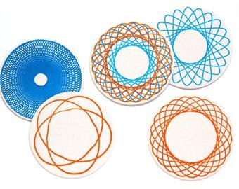 Letterpress Coaster Set   Spirograph   Set of 10