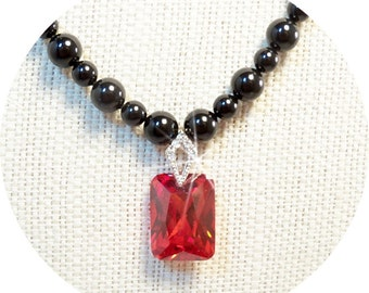 Necklace, Red and Black, Black and Red, Black Pearls, Red Pendant, Dressy, Holiday Jewelry, Black Jewelry, Red Jewlelry, CZ Pendant