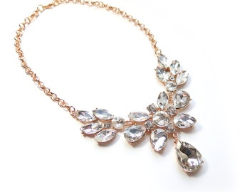 Rhinestone Gold Statement Necklace