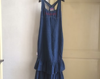 Jeans dress with ruffles