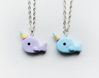 Best Friends Rainbow Horn Purple and Blue Narwhal Necklaces Set