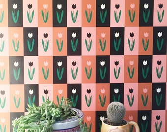 Removable Wallpaper // Quilted Tulips // Perfect for renters and DIY projects
