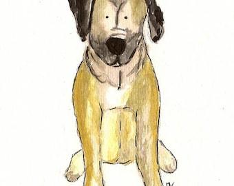 Custom Pet Portrait- watercolor 5 X 7 or  8 X 10