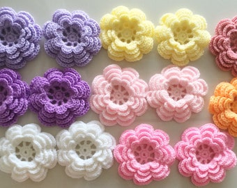 Lot 12 pcs Crochet Flowers Handmade Applique Embellishment sewing in multi-color size 2.75 ""