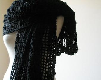 Black Shawl RECTANGLE Handmade