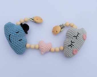 Mr & Miss Cloud Wagon tensioner with crocheted clouds, cloud, heart and wooden beads attachment with clips or rings/stroller Accessories