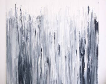 Black and White Abstract Modern Painting