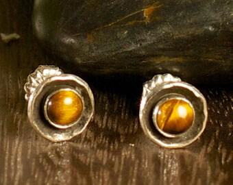 Tigerseye Silver Stud Earrings