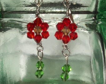 Red and Yellow Crystal Flower Earrings French Clip Gift for Her