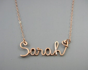 Rose Gold Name Necklace with a Tiny Heart - personalized cursive word, kids name necklace for mom