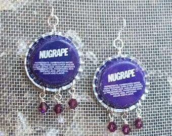 Bottle Cap Earrings Purple Vintage Nugrape Soda Crystals