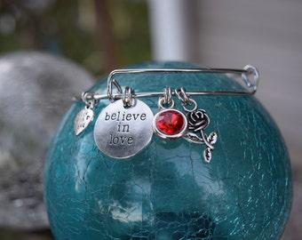 Believe In Love, Charm Bracelet, Expandable Bracelet