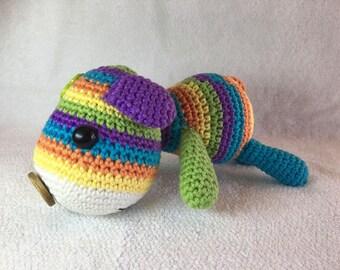 Stripey Rainbow Crochet Amigurumi Dog