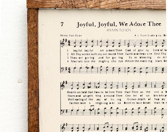 Joyful Joyful We Adore Thee Rustic Wood Sign - Christian Wall Decor,Christian Gift,Wood Sign,Rustic Sign,Rustic Home Decor,Farmhouse Decor