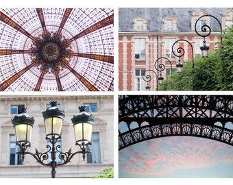 Paris Photography Set - Architectural Details Collection, Urban Wall Decor, French Fine Art Photographs