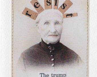 Patti Gibbons Art Political Humor Greeting Card RESIST the TRUMP