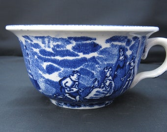 Blue And White Staffordshire Large Coffee Cup Or Soup Bowl With Handle, Cobalt Blue And White Ceramic Bowl, Auld Lang Syne Inspired Cup