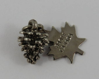 Pinecone With Banff Canada Tag Sterling Silver Vintage Charm For Bracelet