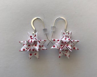 Moravian Star Earrings—Red Polka Dots