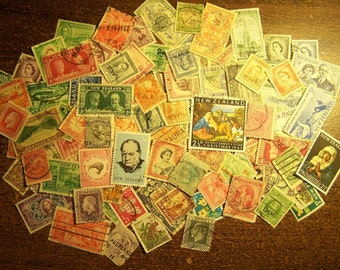 Lot of 100 Different New Zealand Postage Stamps - Vintage to Modern