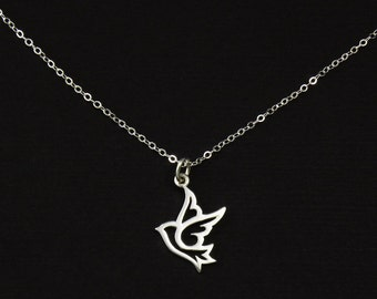 Medium Sterling Silver Peace Dove Bird Charm Necklace