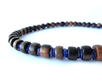 Mens necklace for blue and brown business casual. - Ebony and Lapis