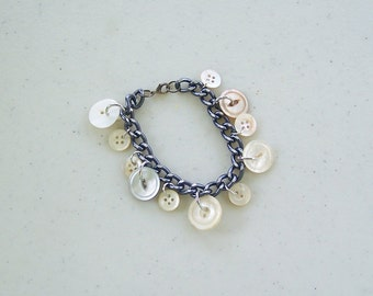 Mother of pearl button charm bracelet jewelry