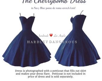 Mod Navy Blue Cherrybomb BRIDESMAID Swing Dress by Harldey Dangerous, Nautical Party Dress, Custom Made in America!