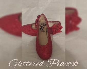 Hand Glittered Metallic Red pump ,prom , wedding, bridal, bridesmaid wizard of oz, ruby slippers