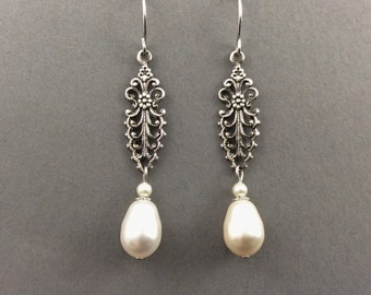Pearl Earrings In Silver With Filigree Connectors And Cream Teardrop Pearls