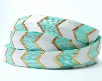 Turquoise aqua patterns Chevron FOE elastic Ribbon geometric arrow gold and white / elastic hair bracelets flexible diy