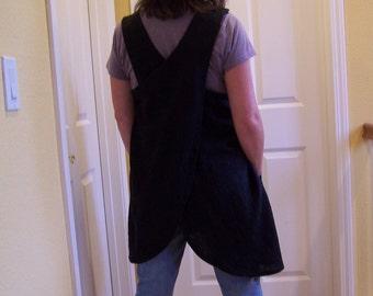"""Linen Cross Back Apron, Teacher Full Cover Up, '""""It's a Wrap"""" Linen Apron, Maids Apron, pinafore"""