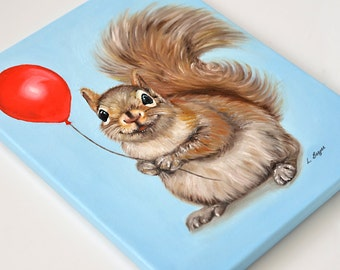 Squirrel canvas. Animal print. Giclée print on canvas. Squirrel wrapped canvas. Squirrel art. Kids canvas. Squirrel print. Squirrel gift.