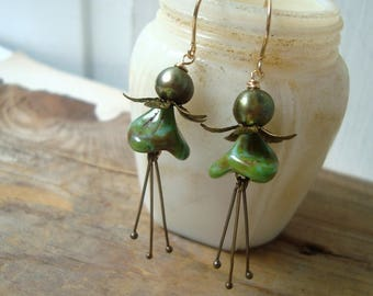 Moss Green Blossom Earrings With Pearl Brass Mothers Day Bridesmaid Jewelry Flower Floral Holiday Jewelry Gifts Under 40 Spring