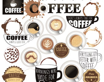 Coffee ClipArt Collection - Instant Download