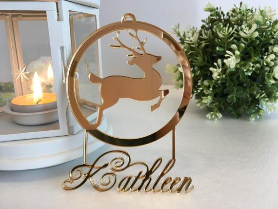 Personalised deer Christmas baubles Custom name gift Reindeer ornament Name tree decorations Christmas Gift Rudolph Baby's first Christmas