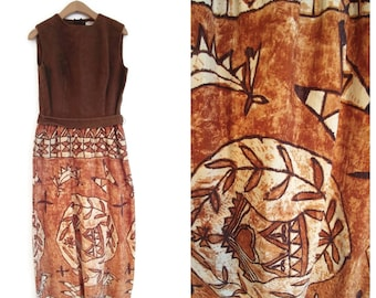 Vintage Lanz Original Maxi Dress size Small Barcloth tiki Hawaiian style 1960s