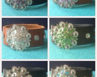Western Berry Concho Leather Bracelet