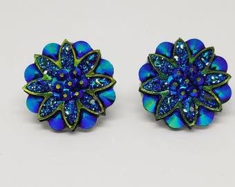 Resin Flower Rhinestone Button earrings