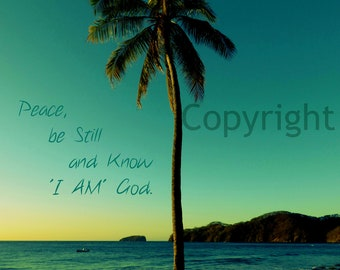 """Inspirational Quote Photo """" Peace be Still  and know I AM God"""" Sunset Palm Beach ocean Giclee Print"""