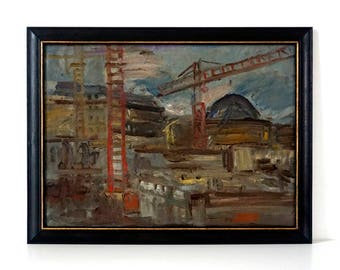 Large Expressionist Cityscape - Industrial Urban Landscape with Cranes - Original Oil Painting - Modern Landscape - Industrial Painting