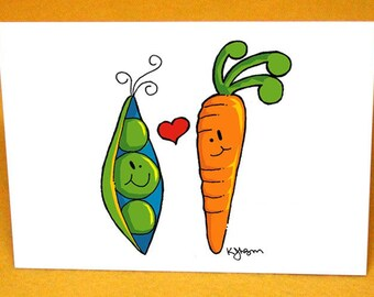 4 Peas and Carrots Blank Greeting Cards for Carol Pompelio