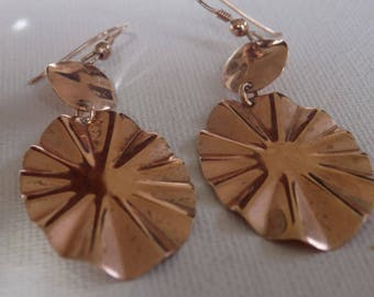 Vintage earrings, 925 sterling silver rose gold vermeil dangle drop earrings,jewelry